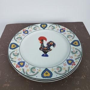2 Block Spal Daybreak Salad Plates Rooster Hearts